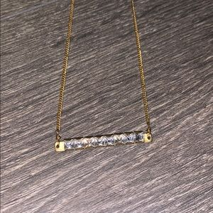 Anthropologie Gold Bar Crystal Neclace